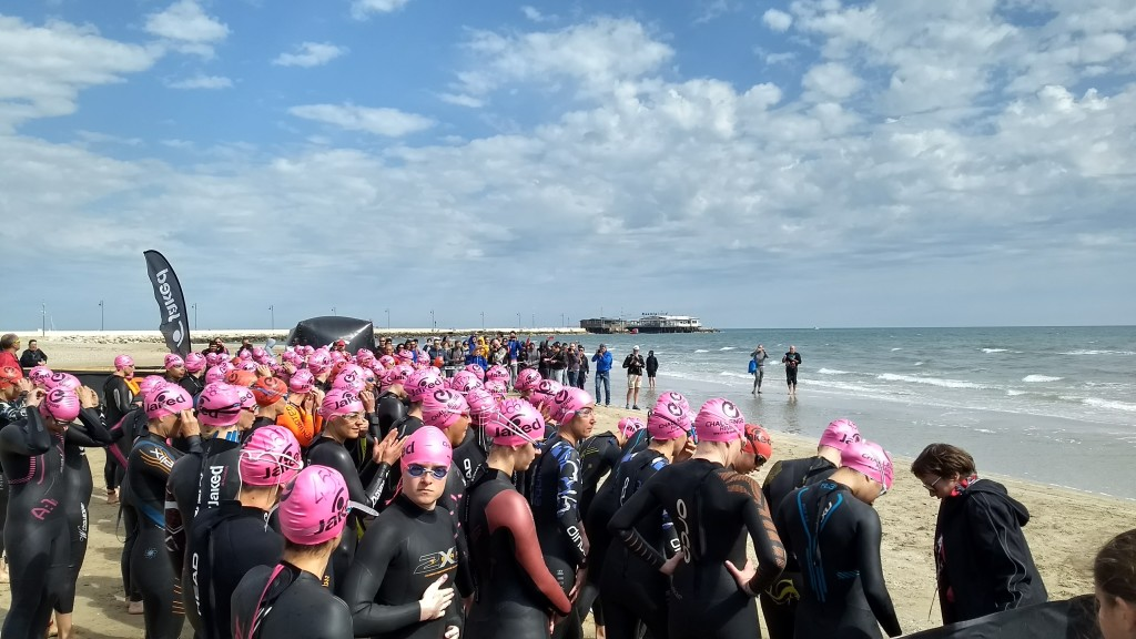 Starting in a wave with many swimmers can be daunting: if you're not confident start towards the back and keep to the outside at the turning buoys.